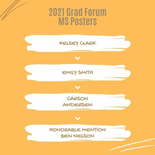 2021 Grad Forum MS Posters: Kelsey Clark, Emily Smith, Carson Andersen, Honorable Mention Ben Nelson