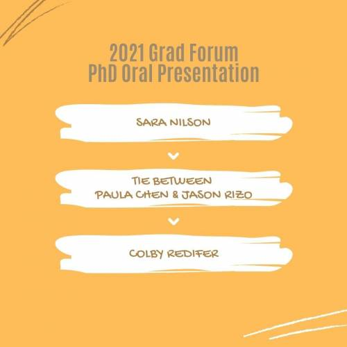 2021 Grad Forum PhD Oral Presentation: Sara Nilson, Tie between Paula Chen and Jason Rizo, Colby Redifer
